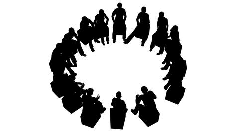 Group of people sitting in a circle Live Action