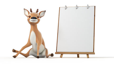 Cute Cartoon Deer Turns the Page Animation