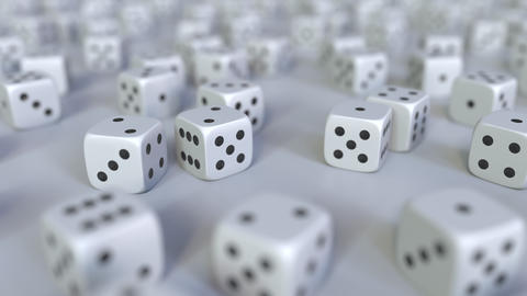 Scattered gambling dices. Realistic 3D animation, seamless loop Footage