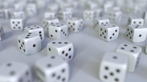 Scattered gambling dices. Realistic 3D animation,…, Live Action