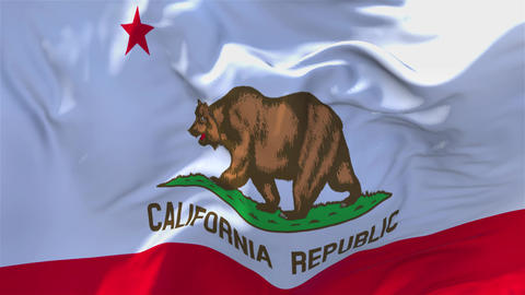 303. California Flag Waving in Wind Continuous Seamless Loop Background GIF