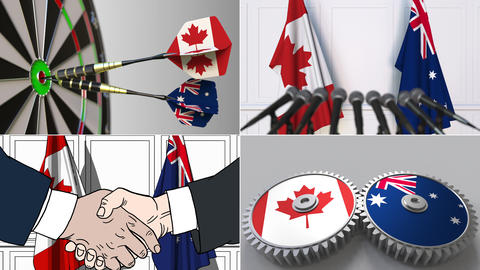 Canada and Australia cooperation. Conceptual animation montage Footage