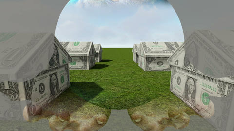 Mixed media of two 3d animation from House made of cash and hand holding globe Animation