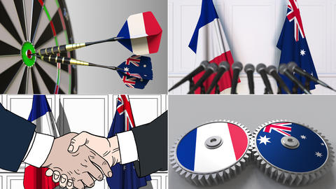 France and Australia cooperation. Conceptual animation montage Footage