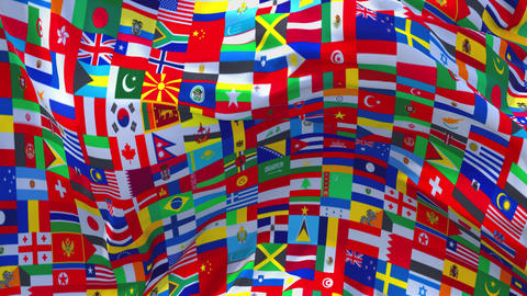 336. Word Multi Country Flag Waving in Wind Continuous Seamless Loop Background Live Action