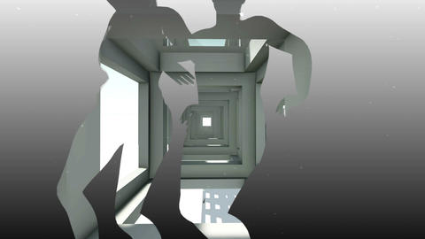 Mixed media of two 3d animation from abstract girder construction and dancing Animation