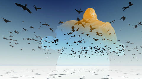 Flock of birds flying across the screen.3D animation and rendering CG動画