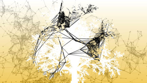 Mixed media of two 3d animation from tree and geometric polygonal structure Animation