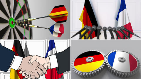 Germany and France cooperation. Conceptual animation montage Footage