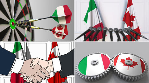 Italy and Canada cooperation. Conceptual animation montage Footage