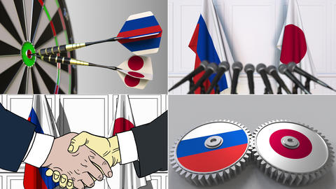 Russia and Japan cooperation. Conceptual animation montage Footage