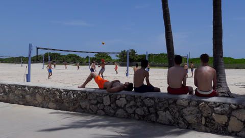 Young People Playing Beach Volleyball Game In South Beach Miami Footage
