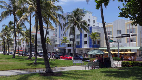 Buildings Of Art Deco Historic District In Miami Beach Florida Live Action
