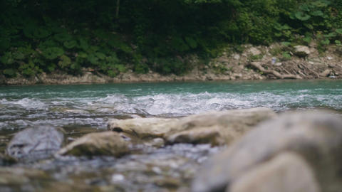 Water stream of mountain river quickly flowing on stones. Clear water in creek Footage