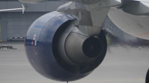 Back view of working jet engine and heat haze from it Footage