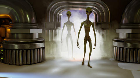 Alien invasion through the portal. Dramatic super realistic concept. Animation Animation