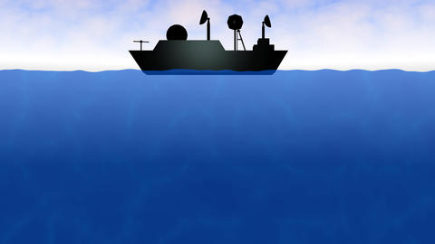 Ship on sea. Moving radar transmitter antenna, waves and clouds. 3d animation Animation