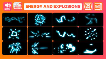 Energy and Explosion Elements + Titles Motion Graphics Template