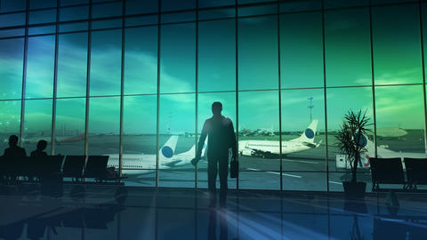 Business traveler at the airport. 3D illustration Photo