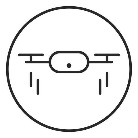 Drone quadrocopter with action camera logo illustration Photo