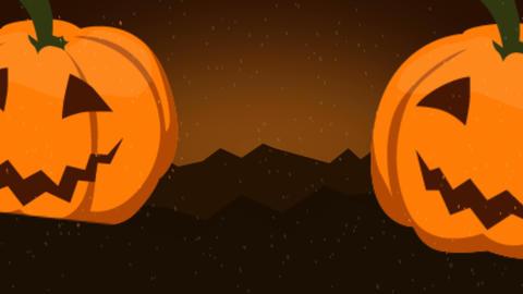 scary pumpkin, happy halloween logo animation Footage