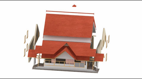 House exterior, build of house, build of the house, House construction Animation