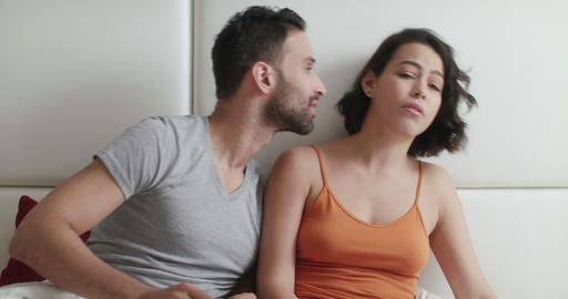 Relationship Problems With Angry Woman In Bed With Man Live Action