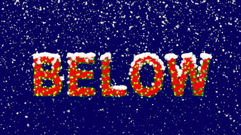 New Year text text BELOW. Snow falls. Christmas mood, looped video. Alpha Animation