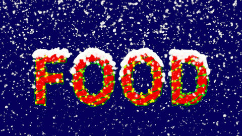 New Year text text FOOD. Snow falls. Christmas mood, looped video. Alpha channel Animation