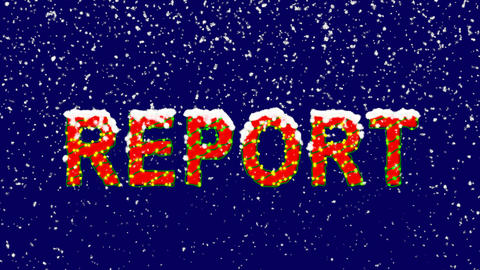 New Year text text REPORT. Snow falls. Christmas mood, looped video. Alpha Animation