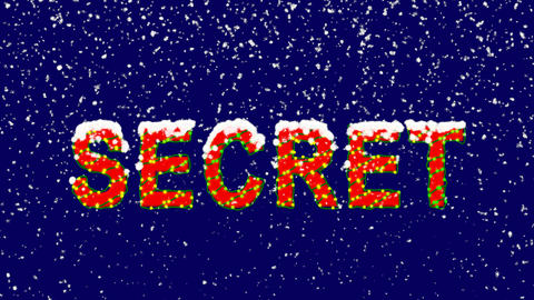 New Year text text SECRET. Snow falls. Christmas mood, looped video. Alpha Animation