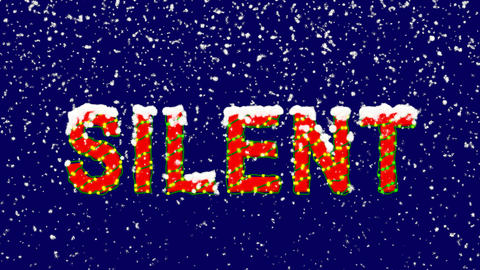 New Year text text SILENT. Snow falls. Christmas mood, looped video. Alpha Animation