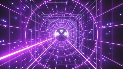 Abstract Retro Polygonal Laser Tunnel Flight Background Animation