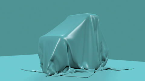3d animation - render of blue fabric falling down and... Stock Video Footage