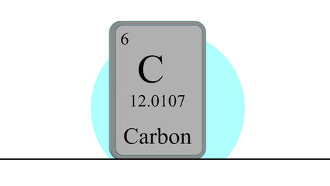 Carbon. Element of the periodic table of the Mendeleev system Animation