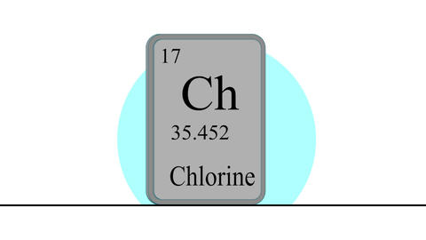 Chlorine. Element of the periodic table of the Mendeleev system Animation