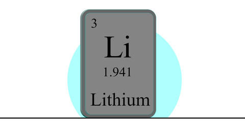 Lithium. Element of the periodic table of the Mendeleev system Animation