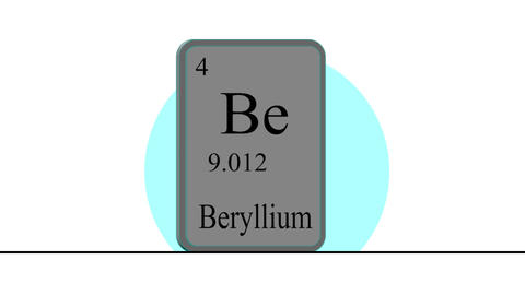 Beryllium. Element of the periodic table of the Mendeleev system Animation