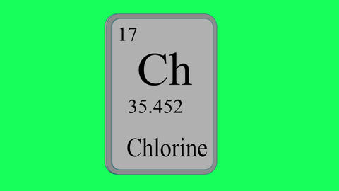 Chlorine. Element of the periodic table of the Mendeleev system on green screen Animation