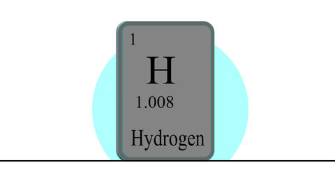 Hydrogen. Element of the periodic table of the Mendeleev system Animation