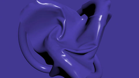3d animation - render of blue fabric falling down and cover mysterious object Animation