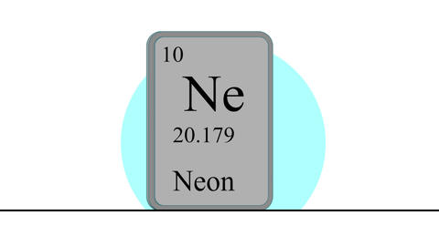 Neon. Element of the periodic table of the Mendeleev system Animation