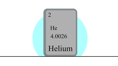 Helium. Element of the periodic table of the Mendeleev system Animation