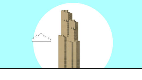 3d animation - render of skyscraper in flat cartoon style Animation