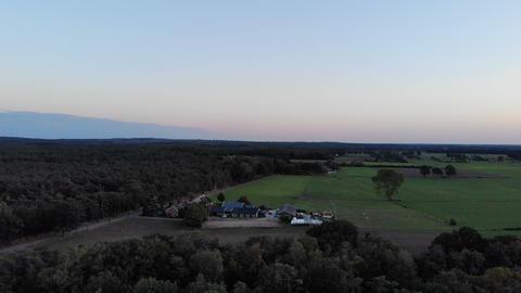 Aerial drone shot of Sunset in Dutch landscape, pan shot Live Action