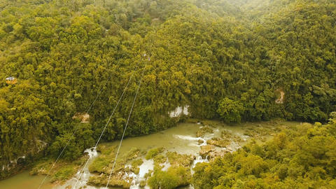 Attraction zipline in the jungle on the island of Bohol, Philippines フォト