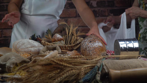 Bread concept. Baking and home bread making concept. Soft…, Live Action