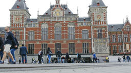 Amsterdam Central Railway Station Building Exterior and People Live Action