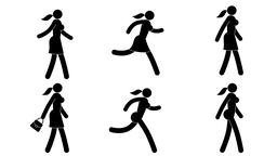 Woman pictograph is walking, running Animation
