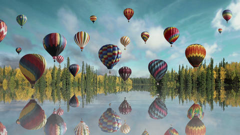 Morning hot air balloon Flight Animation
